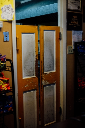 Doors to the kitchen of Larnie's BBQ, which has been in business for 70+ years in Selma.