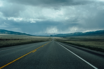 Long, straight roads in south-eastern Colorado
